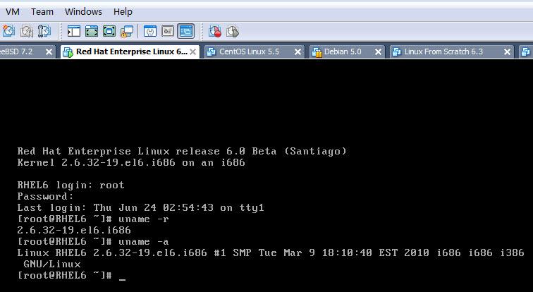 RHEL 6 beta内核版本