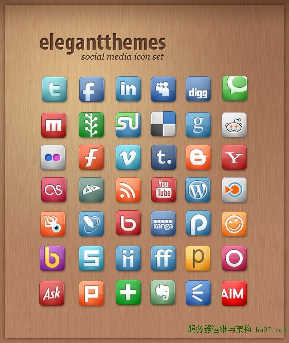Social Media Icon Set from Elegant Themes