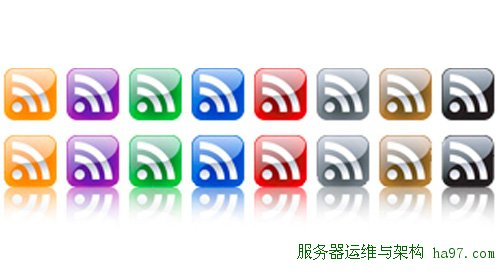 4 glossy rss icons