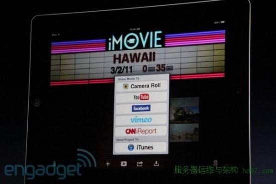 iMovie编辑的视频可分享到YouTube、Facebook、Vimeo及其他网站