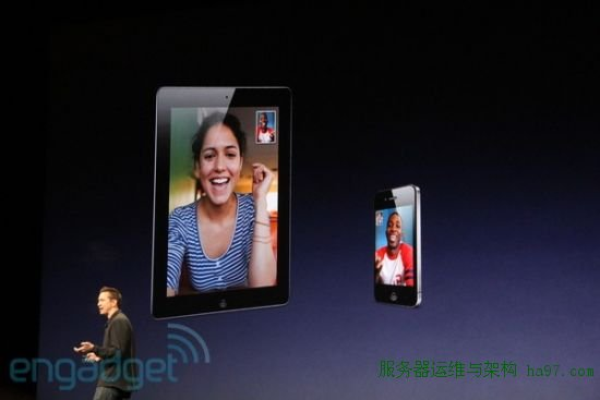 iPad 2可通过FaceTime与其他iPad或iPhone 4视频通话