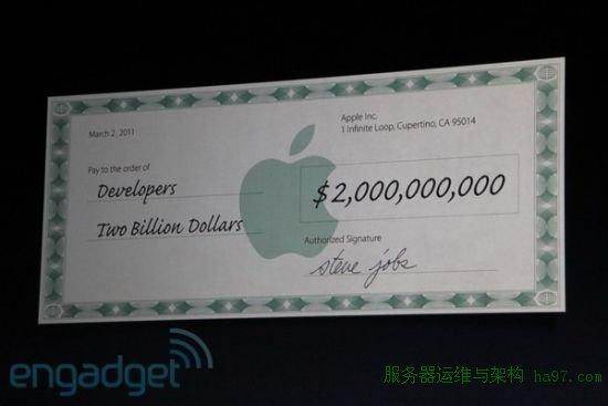 开发人员已经通过App Store赚了超过20亿美元